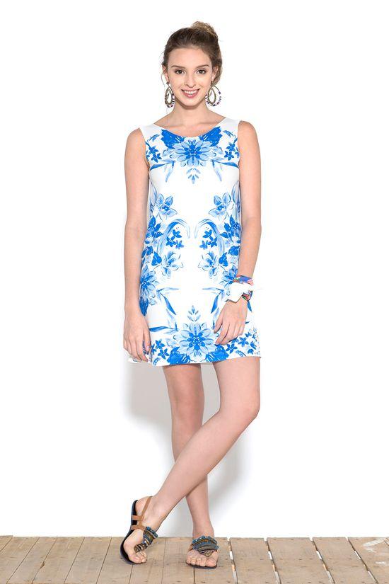 vestidos estampados azuis