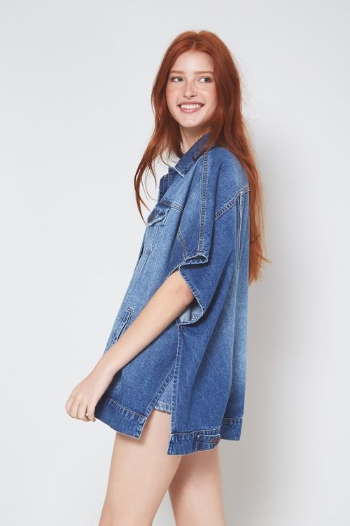 Vestido de tricot com colete jeans