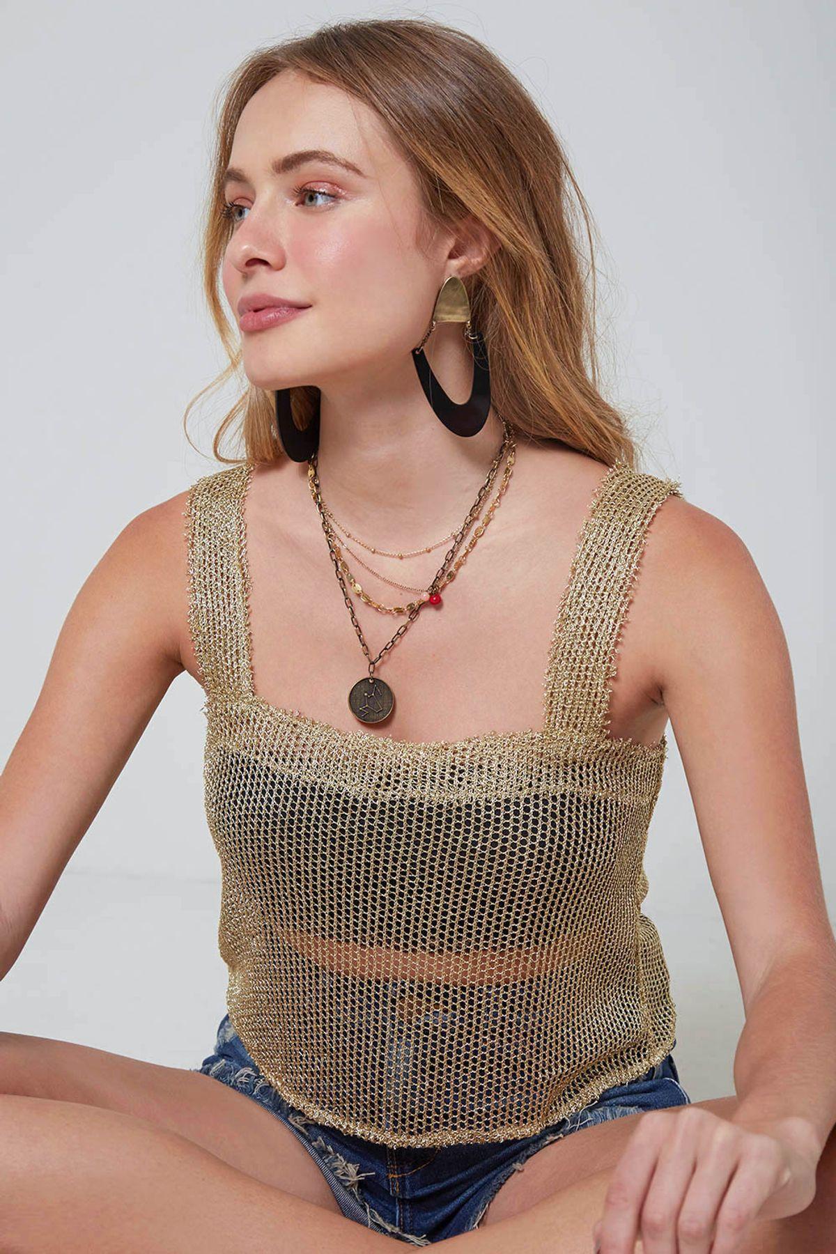 cropped tela dourada decote quadrado